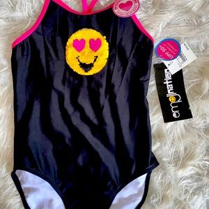 NWT Emojination reverse sequins bathing suit